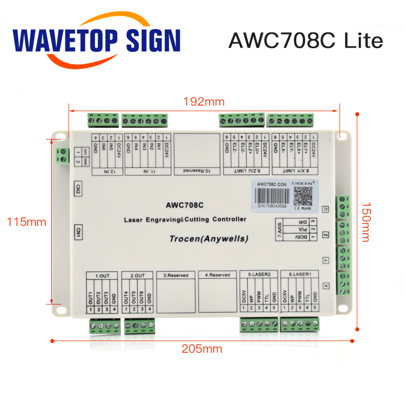 Trocen Anywells AWC708C Lite C02 Laser Controller System For Laser Engraving and Cutting Machine Replace AWC608C