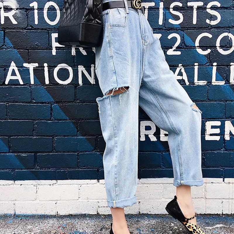 Side Hole Destroyed Jeans Womans High Waist Boyfriend Jeans For Women Wide Leg Jeans Baggy Denim Pants Ripped Jeans Bottom