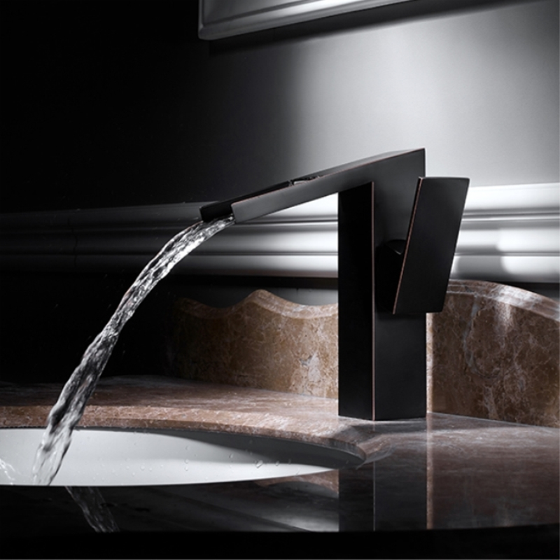 Basin Faucets Waterfall Bathroom Faucet Brass Single Handle Basin Mixer Tap Black Bronze Taps Hot and Cold Sink Water Crane