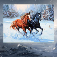 DIY Diamond Painting Wall Sticker Two Horse Cross Stitch Embroidery Painting3D 5D Sticker 40x30cm Home Decor