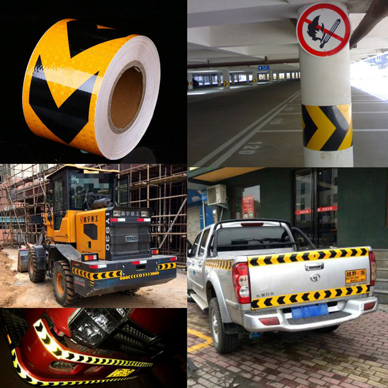 10cm X 30m Reflective Tape Stickers Car Styling Self-adhesive Tape PET Engineering Grade Barrier Trailer Tape