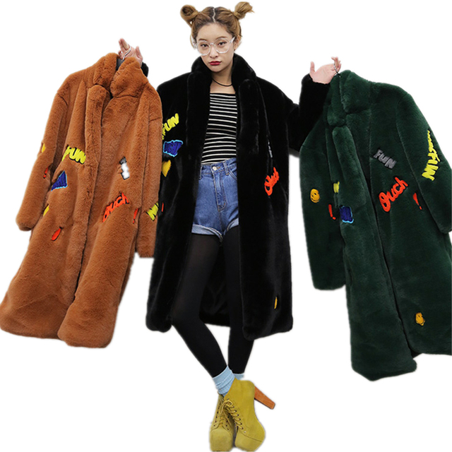 Winter Women Cotton Jacket High imitation Fur Thick Long Parka Embroidered Badge Plush Outerwear Women Wool Coat Cardigan SUN64