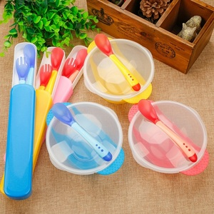 3Pcs/set Baby Learning Dishes With Suction Cup Kids Safety Dinnerware Set Assist Bowl Temperature Sensing Spoon Fork Tableware(China)