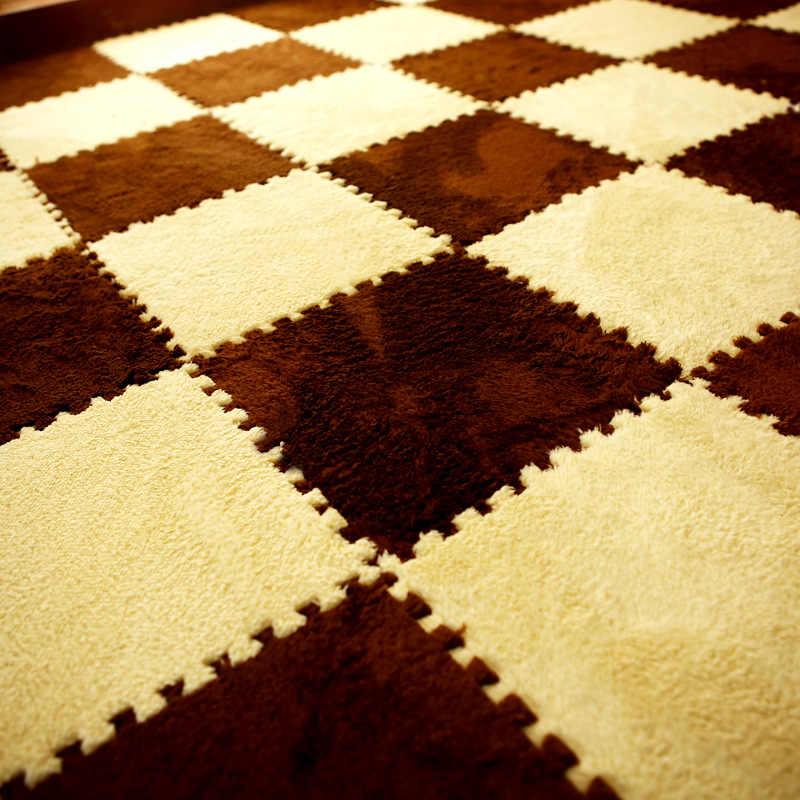 Новый 25*25 см детский коврик-пазл из пены EVA лохматый бархатный Детский эко-Пол 9 цветов для гостиной tapetes para casa sala
