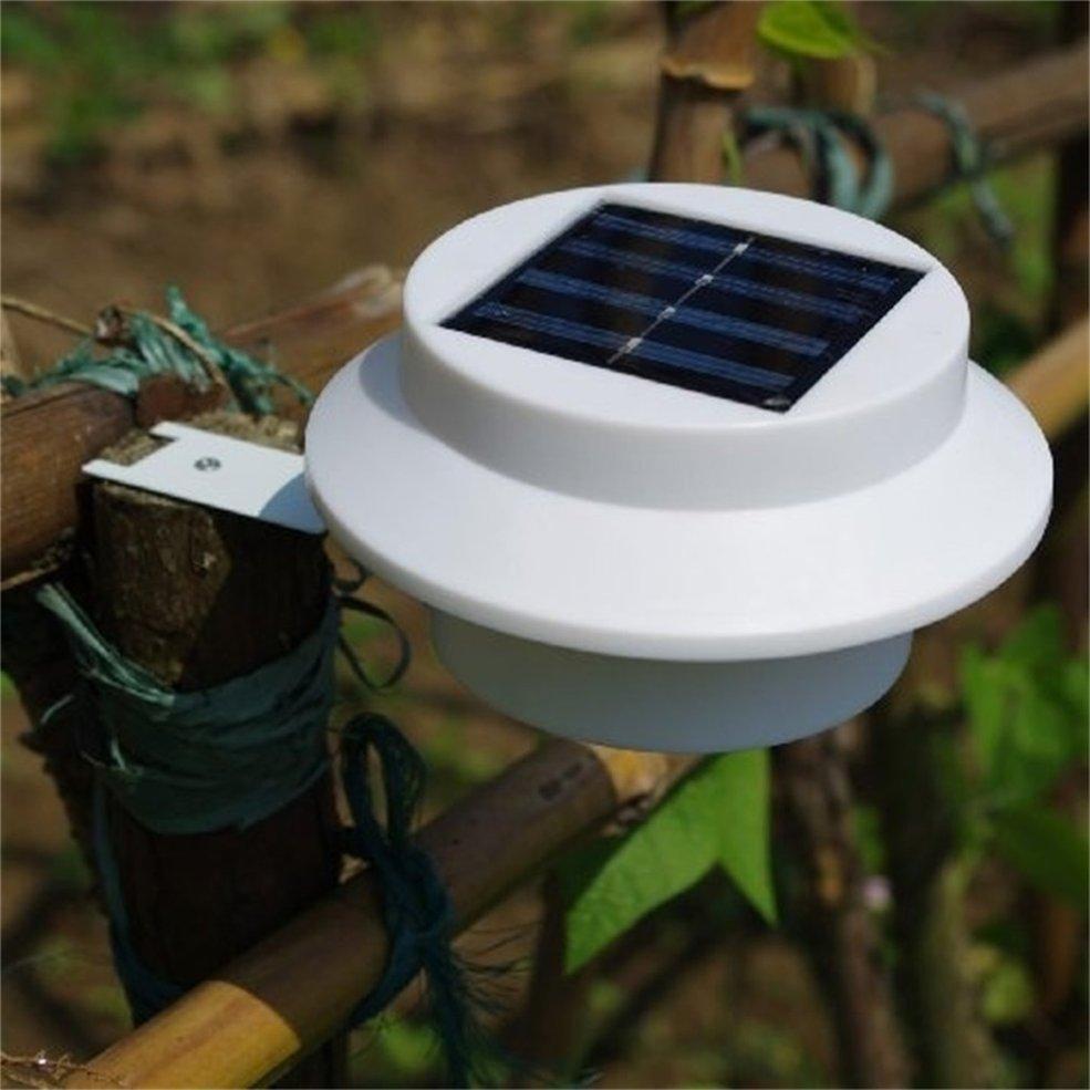 5 pcs Solar Powered Outdoor Garden Light Gutter Fence Lamp 3 LED Lamp Energy Saving White solar powered 3 led white flashlight keychain silver