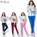 2016 Womens Hot Printed Flowers Lady Tracksuit Set Women Hoodies Sweatshirt +pant Costumes Track Suit 2 Piece Set Autumn wear