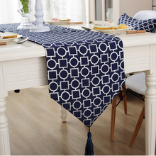 Blue Ivory Abstract Table Runner