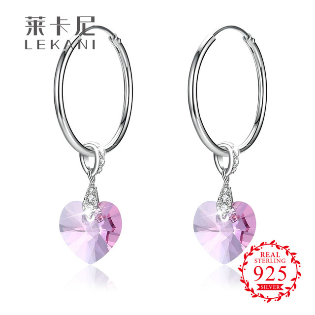 Lekani Crystals From Swarovski Elements S925 Sterling Silver Heart Shaped Crystal Circle Hoop Earrings For Women