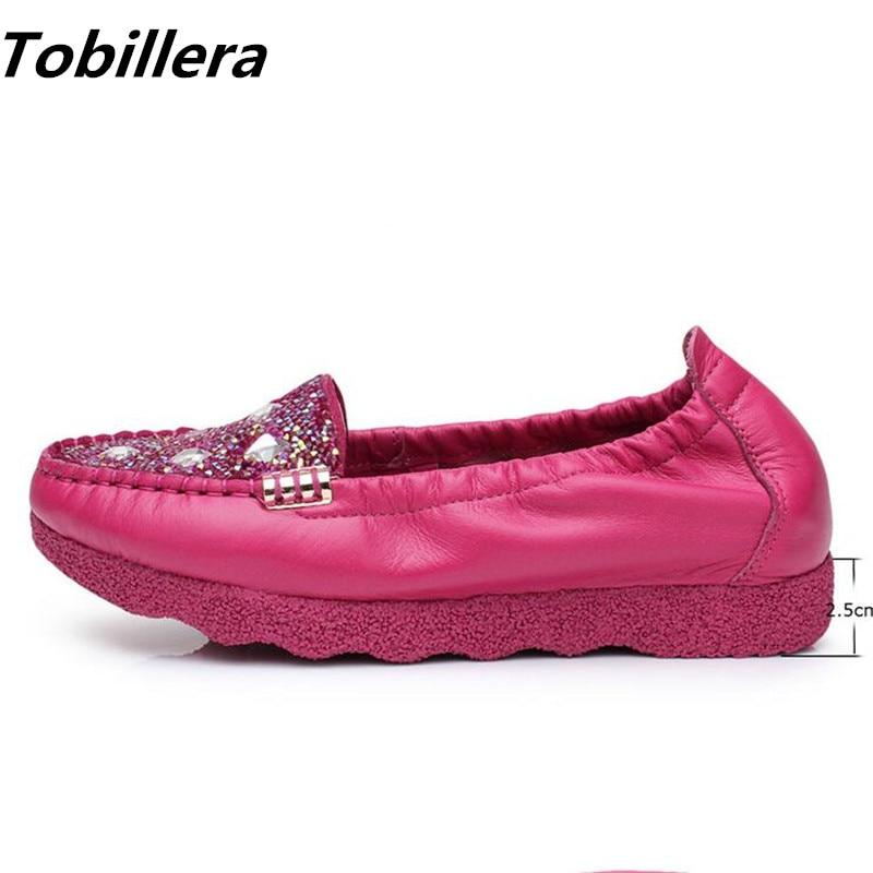 Tobillera Spring Autumn Fashion Rhinestone Decor Women Low Heels Shoes Hot Pink Black Ladies Comfortable Slip On Soft Footwear