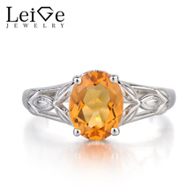Leige Jewelry Solitaire Natural Citrine Ring Oval Cut  Ring Gemstone Promise Ring November Birthstone 925 Sterling Silver Ring