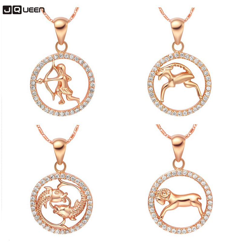 New Aries Taurus Gemini Cancer Leo Virgo Libra Scorpio Sagittarius Capricorn Aquarius Pisces Pendant Rose Gold Necklace