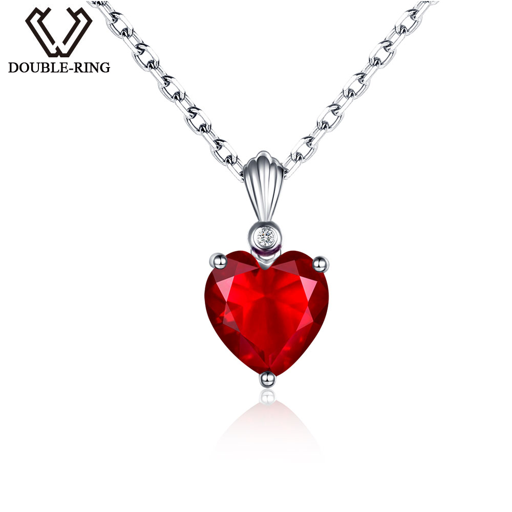 Created White Sapphire Heart Pendant in Sterling Silver 1//2 ct Natural Red Ruby