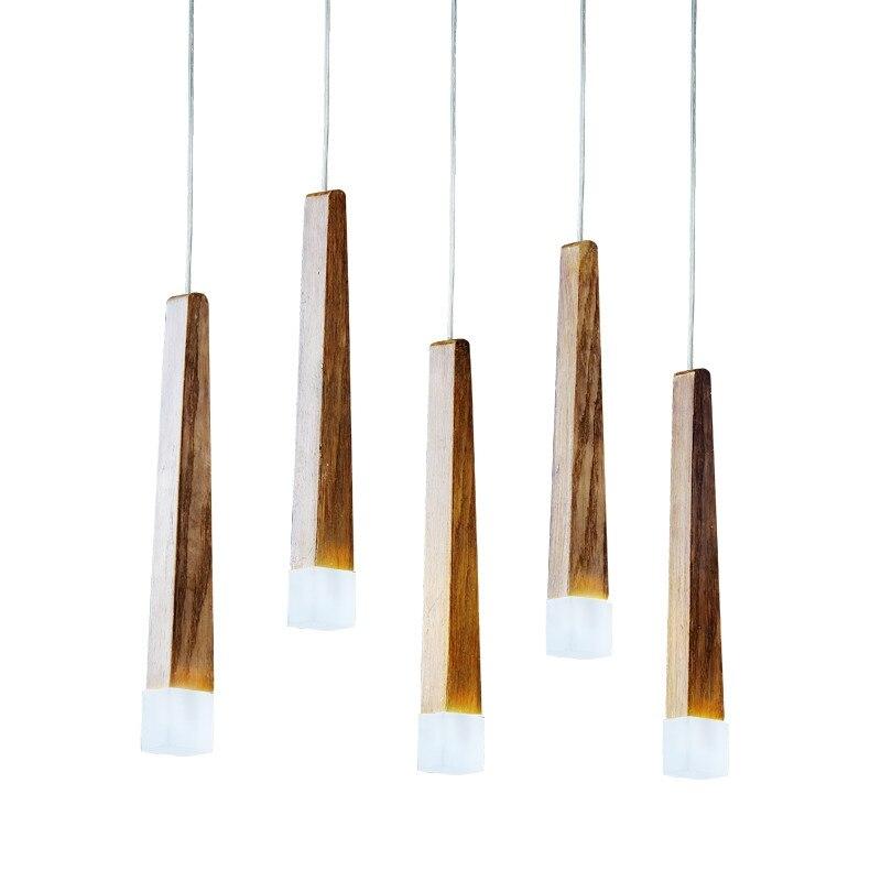BDBQBL Novelty Wood Pendant Lights Loft Decor Hanglamp For Foyer Living Room Hotel Cafe Restaurant Modern LED Wood Lamp