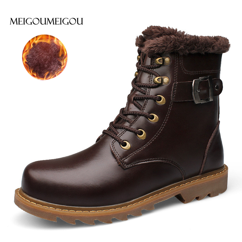 MEIGOUMEIGOU Brand High Top Men Winter Boots British Style Plush Warm Men Leather Ankle Boots Fashion Buckle Snow Boots Men brand men boots fashion hot bullock shoes handmade warm genuine leather winter boots men casual british style ankle snow boots