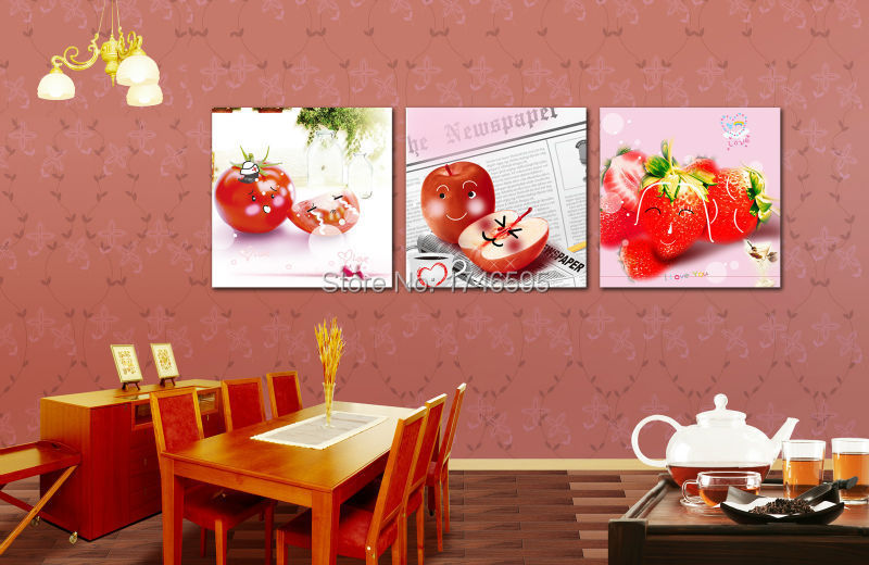 Big 3pieces Modern Home Wall Decor Restaurant Dining Room Art Strawberry Fruit