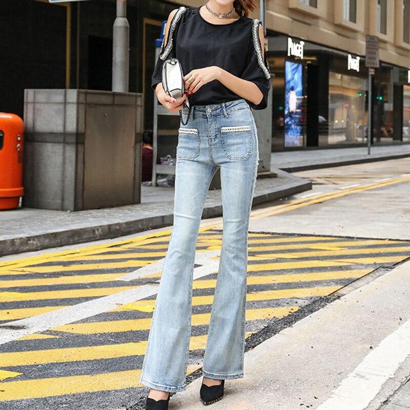 กางเกงยีนส์สตรี Slim หญิงความยาวเต็มกางเกง Flare กางเกงยีนส์ล้างกางเกงปกติสูงเอวเกาหลีฤดูใบไม้ร่วงสไตล์ Street-ใน ยีนส์ จาก เสื้อผ้าสตรี บน   1