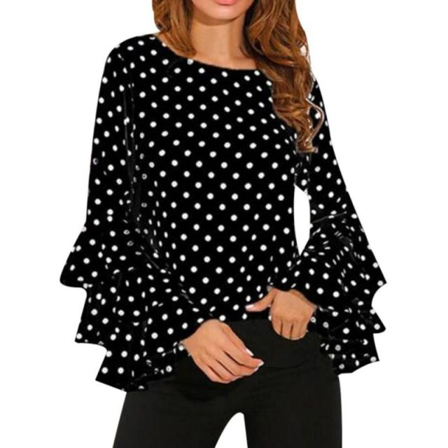 Women Polka Long Sleeve Blouse plus size