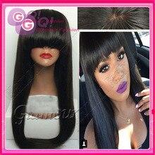 GQ 100% human hair wig full bangs glueless full lace human hair wigs & lace front wigs with full bang for black women baby hair