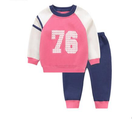 ФОТО Baby sets autumn and winter baby long-sleeve clothes child set plus velvet stripe thermal clothes pants set