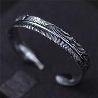 C&R Real 925 Sterling Silver bangles for women men feather bracelets Creative opening bracelets Unisex Fine Jewelry Adjustable
