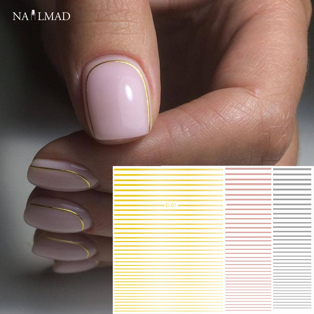 1pc Gold 3D Nail Sticker Curve Stripe Lines Nails Stickers Adhesive ...