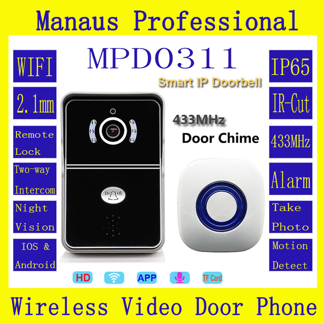 High Quality Doorbell 64G 720P IP Camera & 433MHz Door Chime WIFI Magnetic Lock IP65 Rainproof Outdoor Video Intercom ATZ-DBV04P