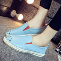 Women Genuine Leather Mother Shoes Moccasins Women's Soft Leisure Flats Female Driving Shoes Flat Loafers zapatos mujer sky blue
