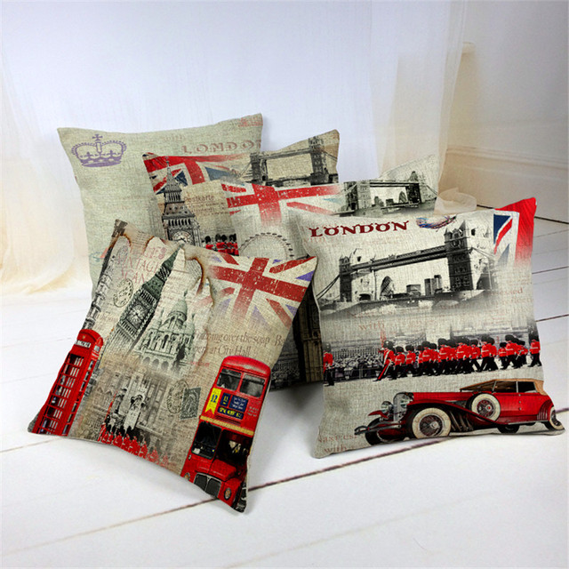 45 45cm UK bus Bridge Guard Pillow Covers Colorful Cases Bedroom