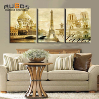 RUBOS DIY 5D Diamond Painting Cross Stitch Triptych Landmarks Building Diamond Embroidery Wall Modular Three Picture