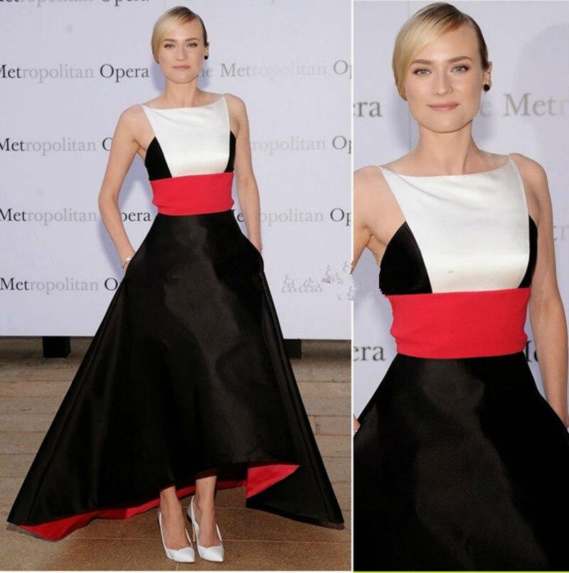 6889d85fedfd5 Vestido largo blanco rojo y negro de empalme vestidos de noche cuello  redondo diseño único Vestido para fiesta de boda en Vestidos de dama de  honor de Bodas ...