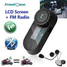 Nieuwe Bijgewerkte Versie!! Motorrijwiel Bt Bluetooth Multi Interphone Headset Helm Intercom T COM Lcd scherm Fm Radio