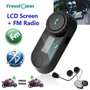Image 1 - Nieuwe Bijgewerkte Versie!! Motorrijwiel Bt Bluetooth Multi Interphone Headset Helm Intercom T COM Lcd scherm Fm Radio