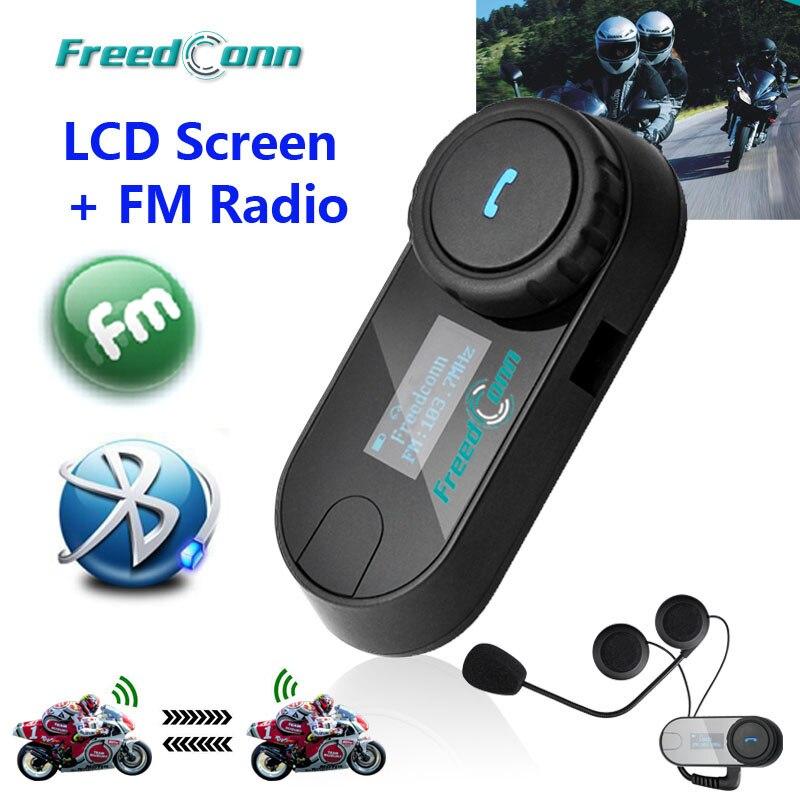 Nova versão atualizada!! Motocicleta moto bt bluetooth multi interfone fone de ouvido capacete intercom T-COM tela lcd rádio fm