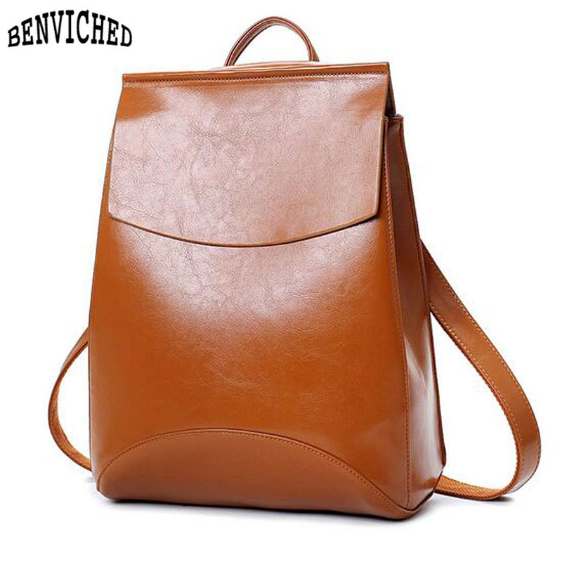 Vintage Women Backpacks Famous Brand Pu Leather Backpack Women School Bags For Teenage Girls 2019 Designer Mochilas Mujer Z536