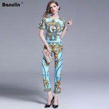 цены Runway Designer Summer 2 Piece Set Women Short Sleeve Luxury Flower Print Blouse Top + Ninth Pencil Pants Two Piece Set Suit