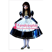 lockable PVC Maid Dress Sissy maid vinyl Uniform Tailor Made[G1631]