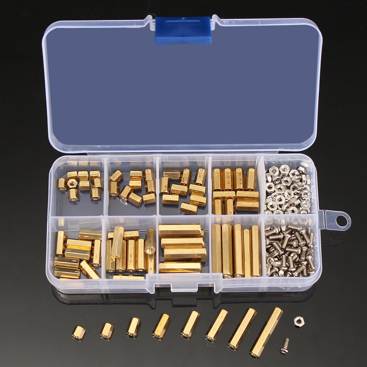 240pcs M2.5 2.5mm Brass Standoff Spacer Male x Female With M2.5 Pan Head Screws and m2.5 hex nut Assortment Kit Cap Screw m2 3 3 1pcs brass standoff 3mm spacer standard male female brass standoffs metric thread column high quality 1 piece sale