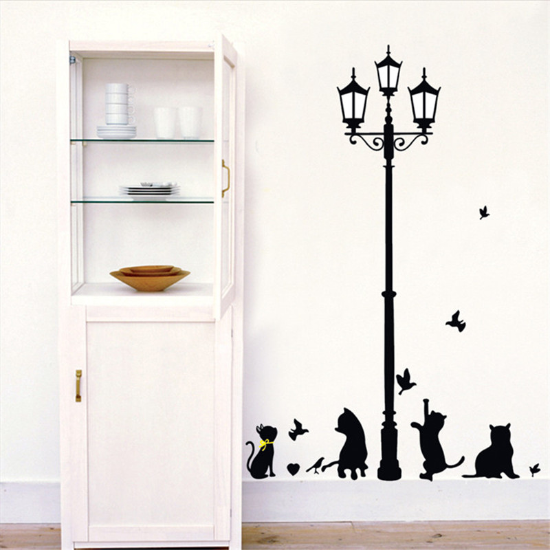 Black Playing Cat Street Lamp Streetlight Vinyl Removable Home Decor For Kids Nursery Bedroom Bathroom Mural