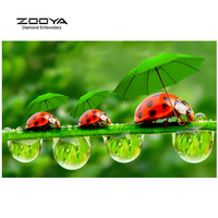 ZOOYA Diamond Embroidery 5D DIY Diamond Painting Ladybug And Green Leaves Diamond Painting Cross Stitch Rhinestone
