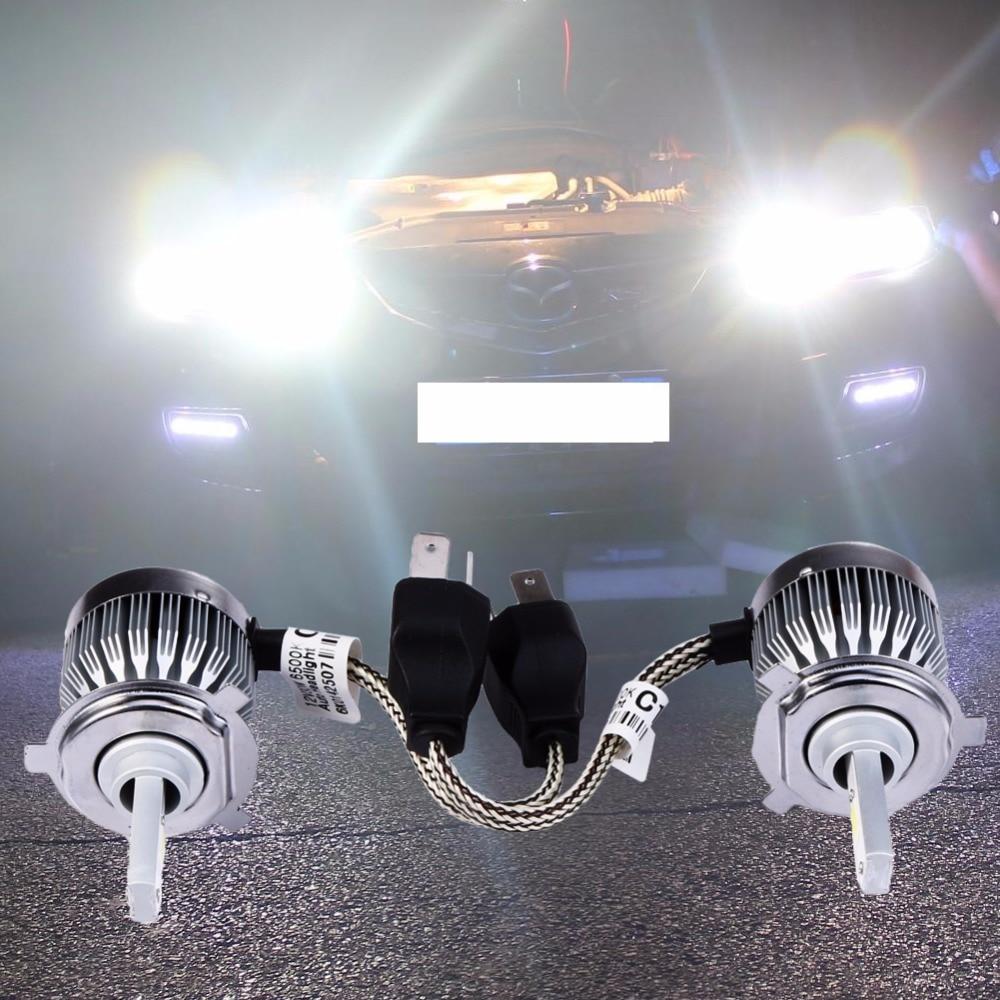 2Pcs H4 Led COB Car-styling Headlight 60W Automobiles Headlamp Bulb White Head Lamp Auto Exterior Fog Light-emitting Diode 12V yika cob led car headlight h4 h7 9005 h11 auto bulb headlamp 6500k light for car styling