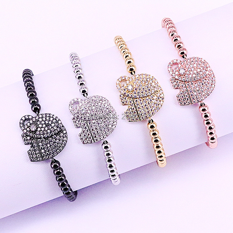 10Pcs Mixed Color Pave Setting White CZ Elephant 4mm Brass Bead Briaded Macrame Bracelets For Men
