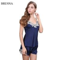 BRESNA Spaghetti Strap Satin Pajamas Sets Embroidery Lace Patchwork Imitated Silk Pajama Women Home Clothes Rayon