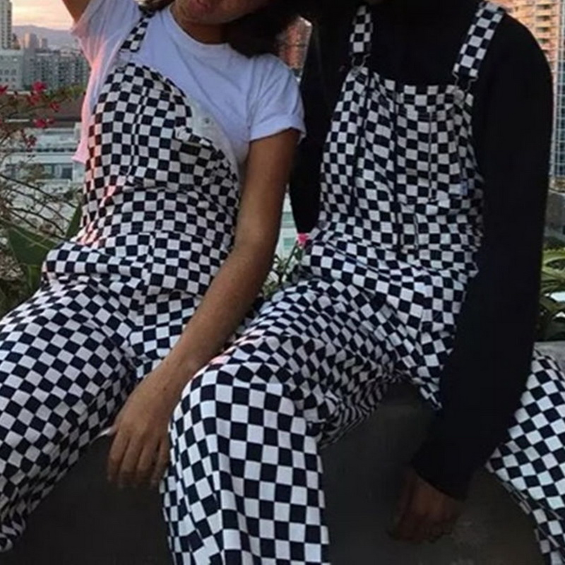 Women Straight Wide Pants Ladies Cotton with Suspenders   Jumpsuit   Loose Checkered Pants