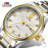 TEVISE Luxury Gold Women Watch Week Day Date Bracelet Watches Ladies Waterproof Fashion Quartz Steel Wrist