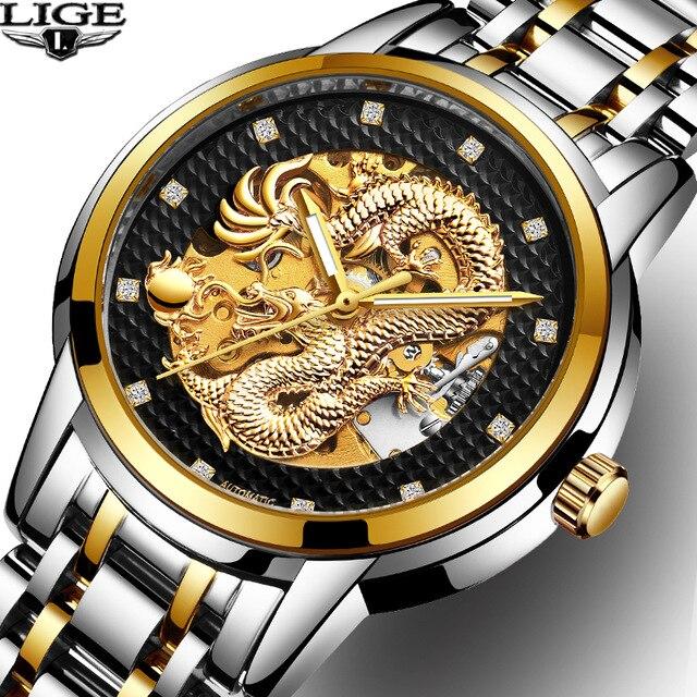 Dragon Squelette Automatique LIGE Mécanique Montres Pour Hommes Montre-Bracelet Inoxydable Bracelet En Acier Or Horloge 30 m Étanche Mens montre