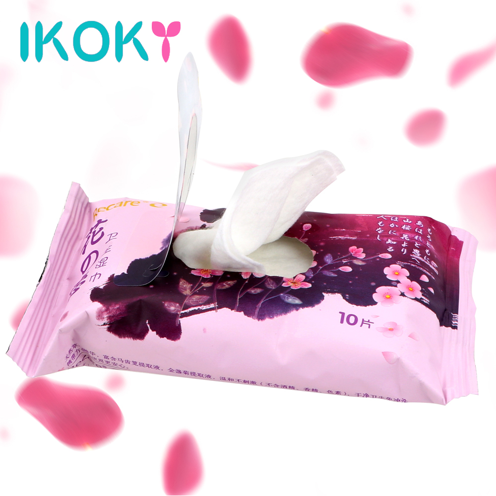 IKOKY Alcohol-free Inhibits Bacteria Wet Wipes Non-irritating Suitable For Penis Vaginal Clean 10 piece/pack(China)