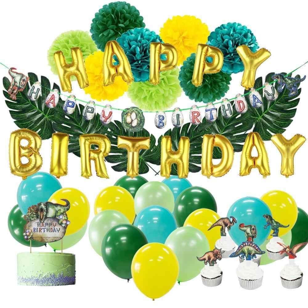 Dinosaur Birthday Party Decorations ROAR Gold Green Poms Tassels Cup Cake T-Rex