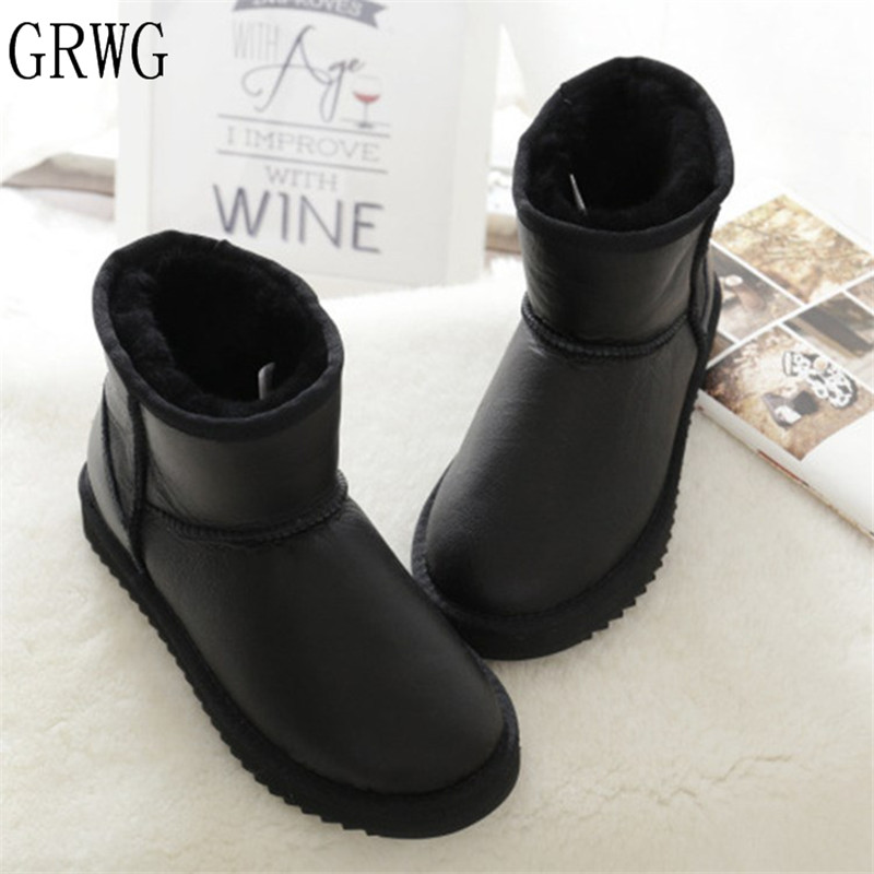 GRWG Real Sheepskin 2018 New Style Nice Winter Classic Snow Boots Genuine Sheepskin Women Boots Top Quality Women Shoes цена