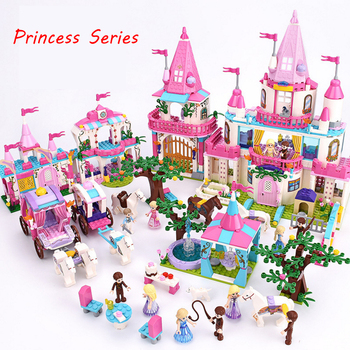 Princess/Prince Series Enchanted Castle Palace Models Building Blocks Royal Carriage Model Compatible  Girl Toys Gifts