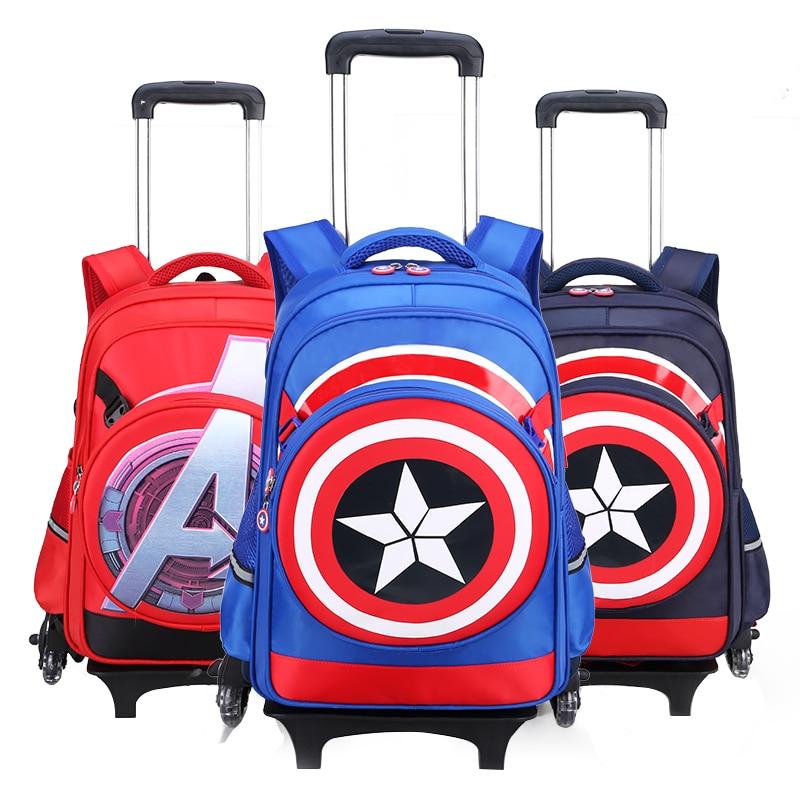 Monter les escaliers bagages bande dessinée garçon cartable étudiants valise à roulettes enfants voyage sac à dos Captain America sac à bandoulière